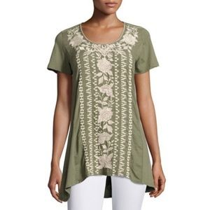 Johnny Was Letty Woven Tor Green Tunic Top